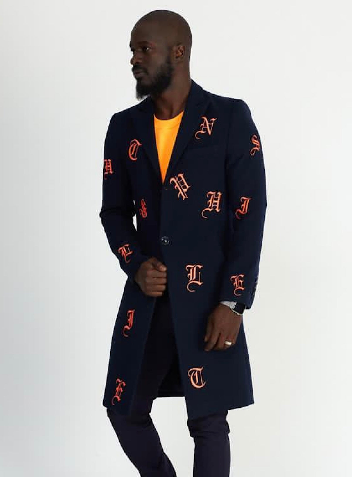Buyer's Choice Coat - English Letters - Coral/Navy