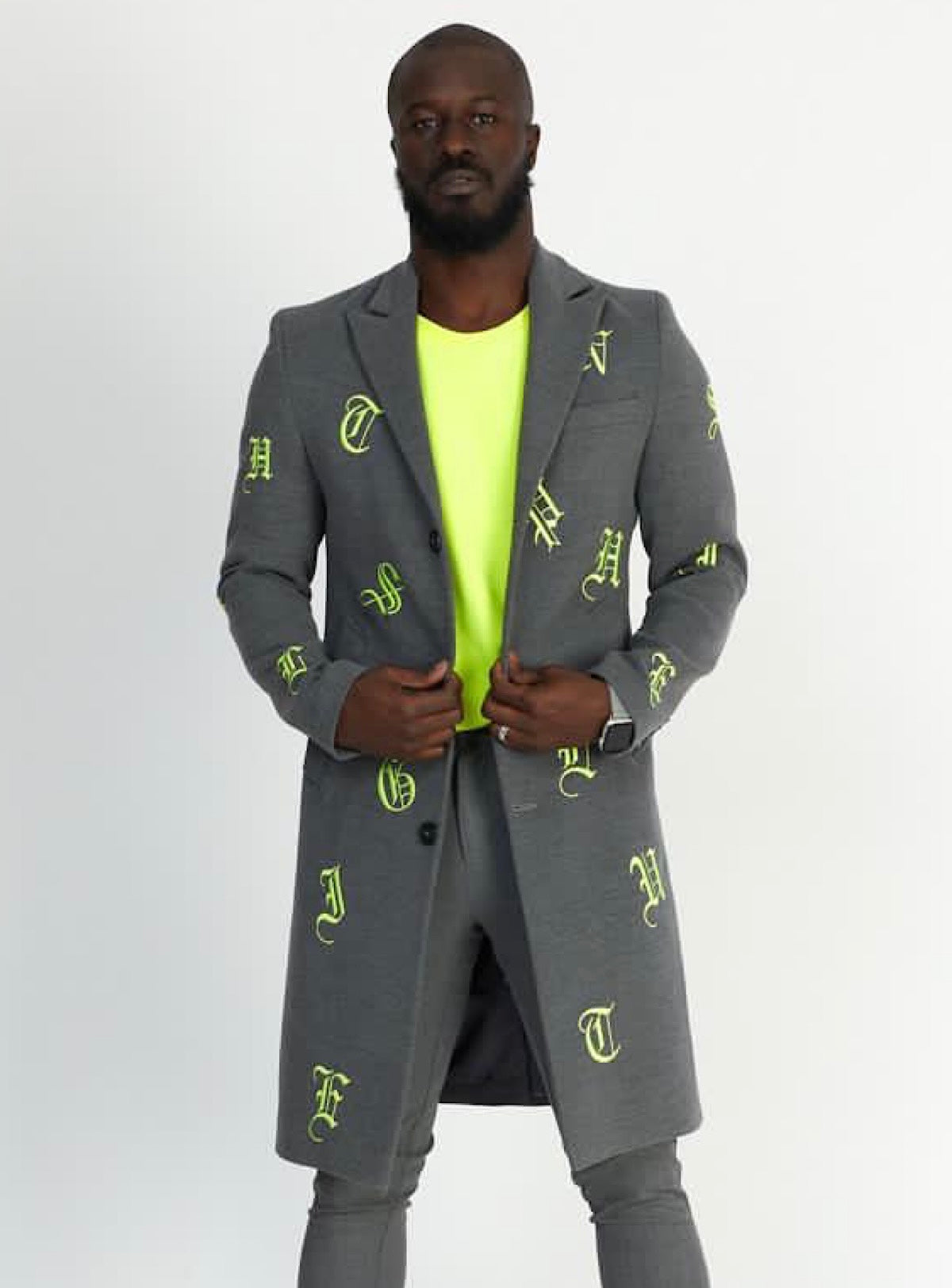 Buyer's Choice Coat - English Letters - Lime/Grey