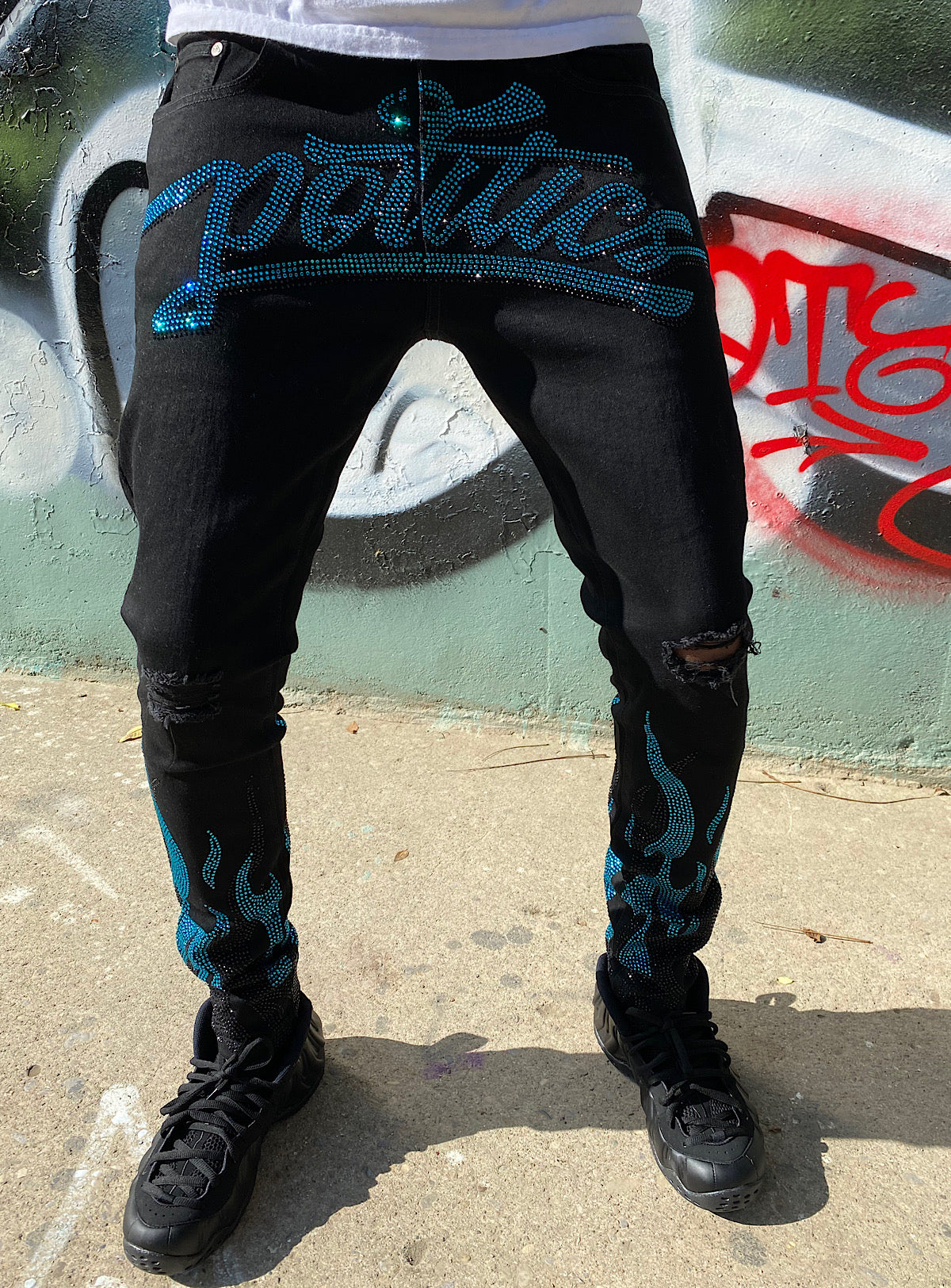 Politics Jeans - Stones and Flames - Black with Sky Blue and Jet Black - RSP 003