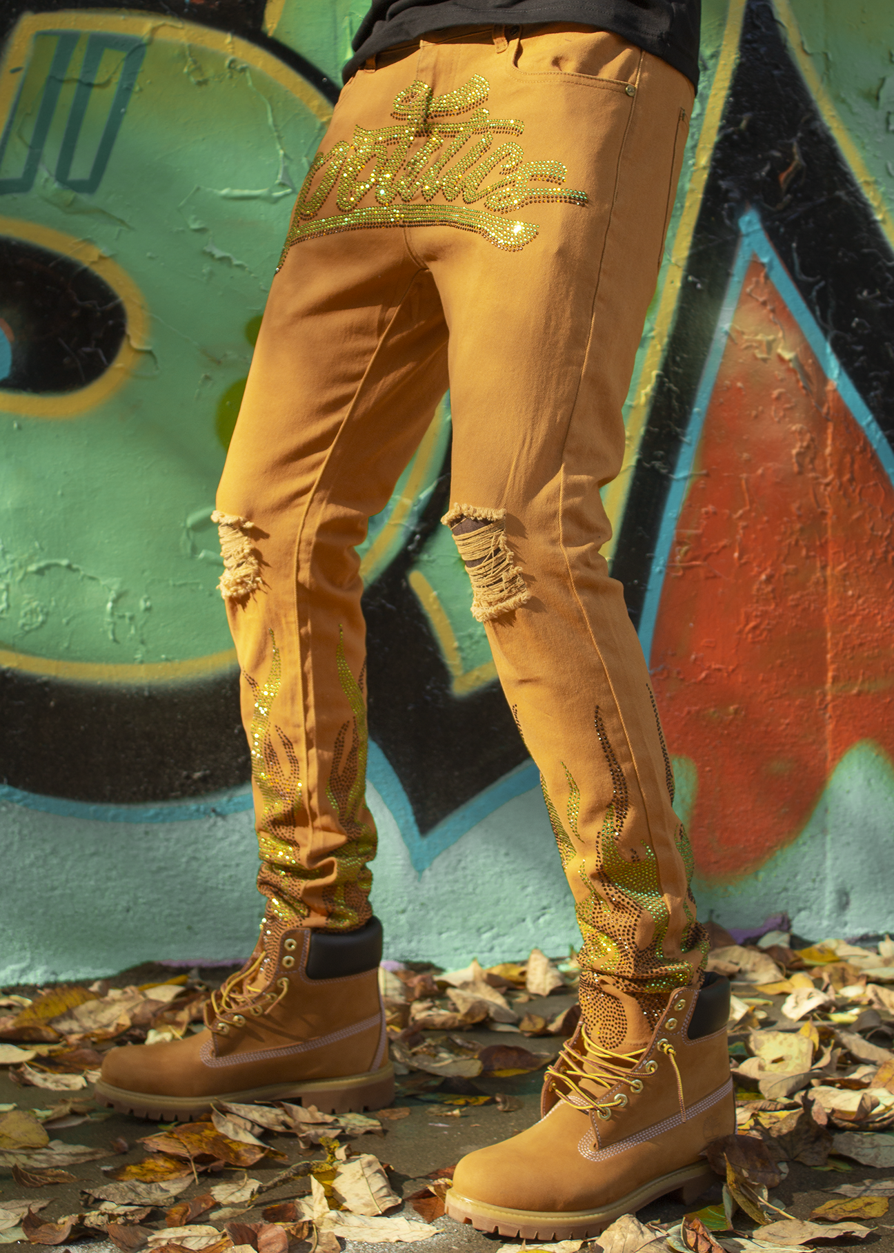 Politics Jeans - Stones and Flames - Khaki with Green and Brown - RSP 009