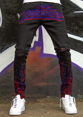 Politics Jeans - Stones and Flames - Black with Red and Blue - RSP 002