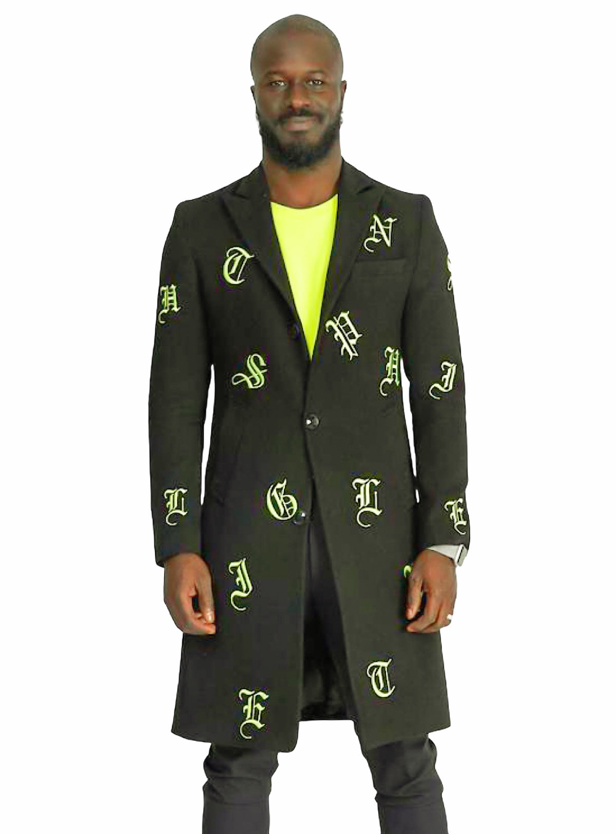 Buyer's Choice Coat - English Letters - Lime/Olive