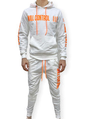 Buyer's Choice Sweatsuit - Will Control - White And Neon Orange - P9002