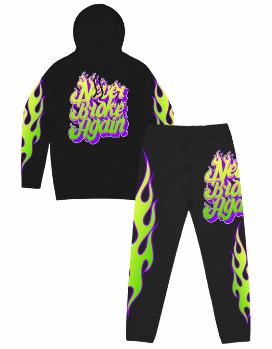 Never Broke Again Sweatsuit - NBA Flames - Black/Lime - NBAFLAMESHOODYBLK