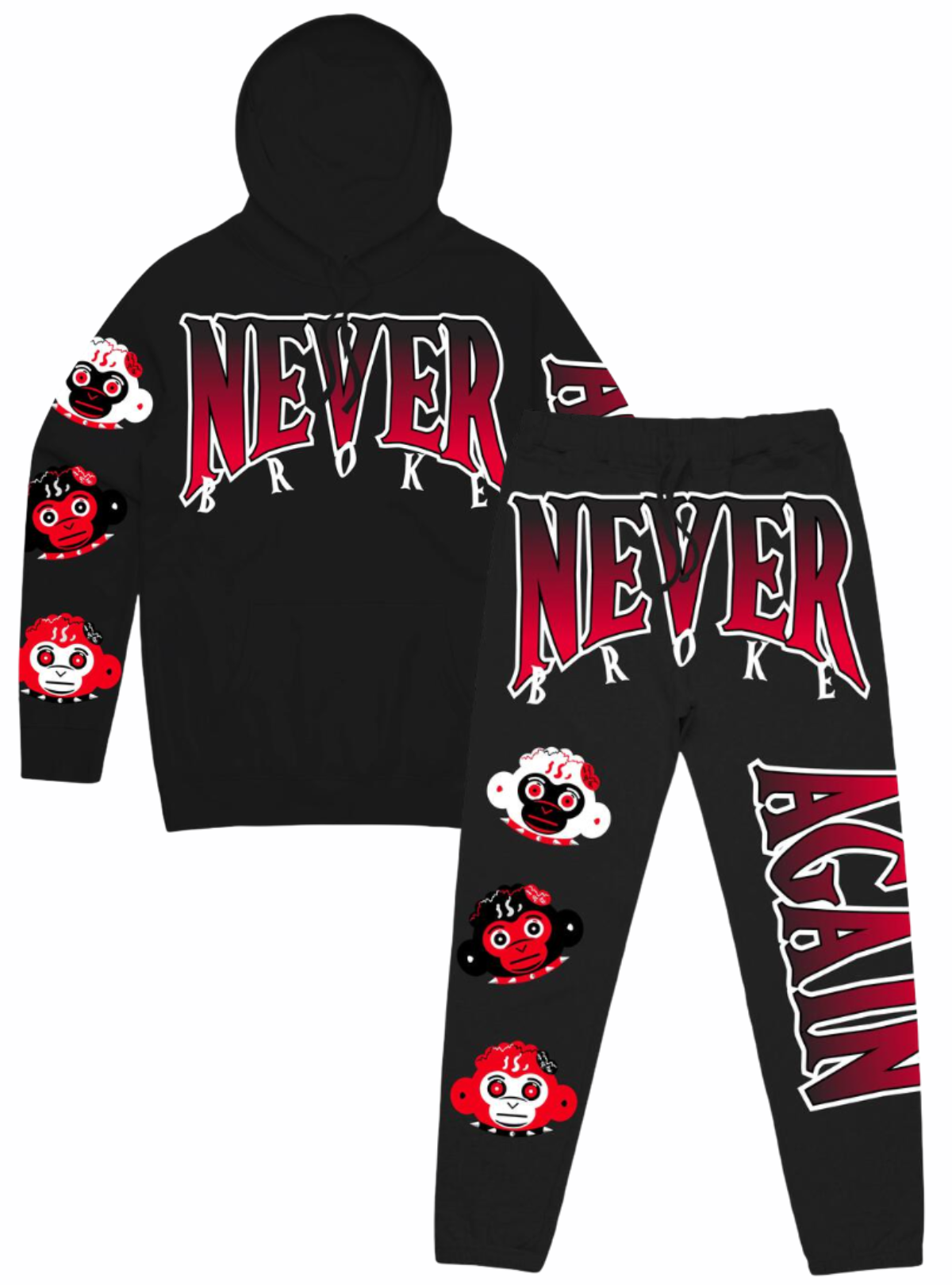 Never Broke Again Sweatsuit - Triple Head - Black