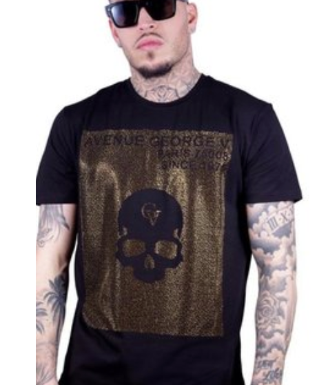 George V T-Shirt - Avenue Skull - Black And Gold
