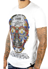 George V T-Shirt - Multi Skull - White - GV2064