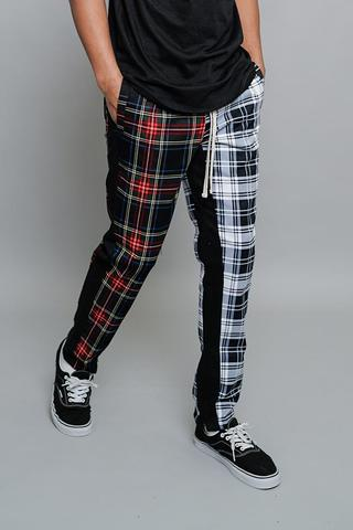 Victorious Joggers - Two Toned Plaid Checkered - Black/White - TR583