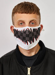 Reason Face Mask - Checker Mouth - White And Black - FM-14