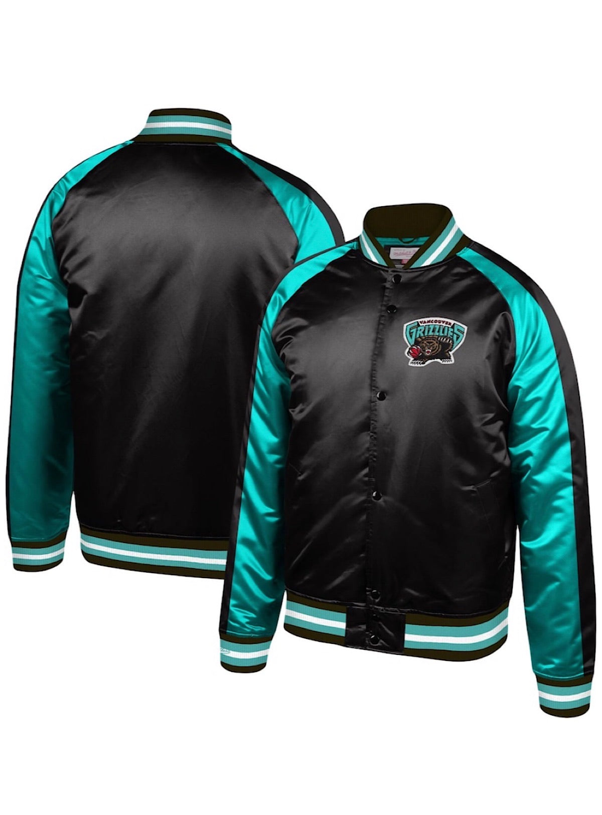 Mitchell & Ness Jacket - Color Blocked Satin - Vancouver Grizzlies - Teal And Black - STJKSC19007