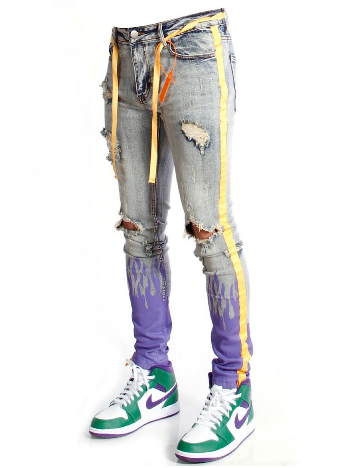 Cooper 9 Jeans - Yellow Stripe with Purple Flame - 2050235