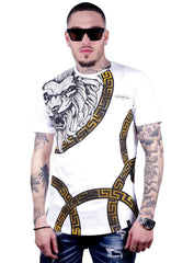 George V T-Shirt - Lion - White And Gold - GV-2014