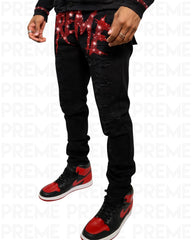 Preme Jeans - Logo - Black And Red - PR-WB-523