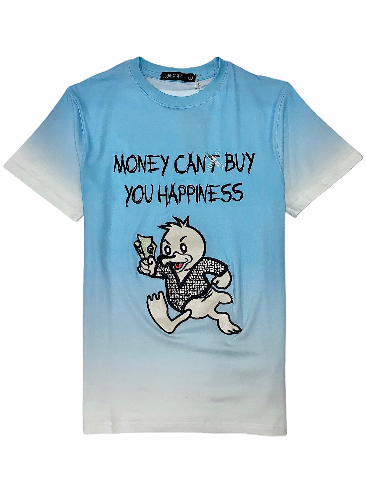 Focus T-Shirt - Happiness - Sky Blue And White - 80365