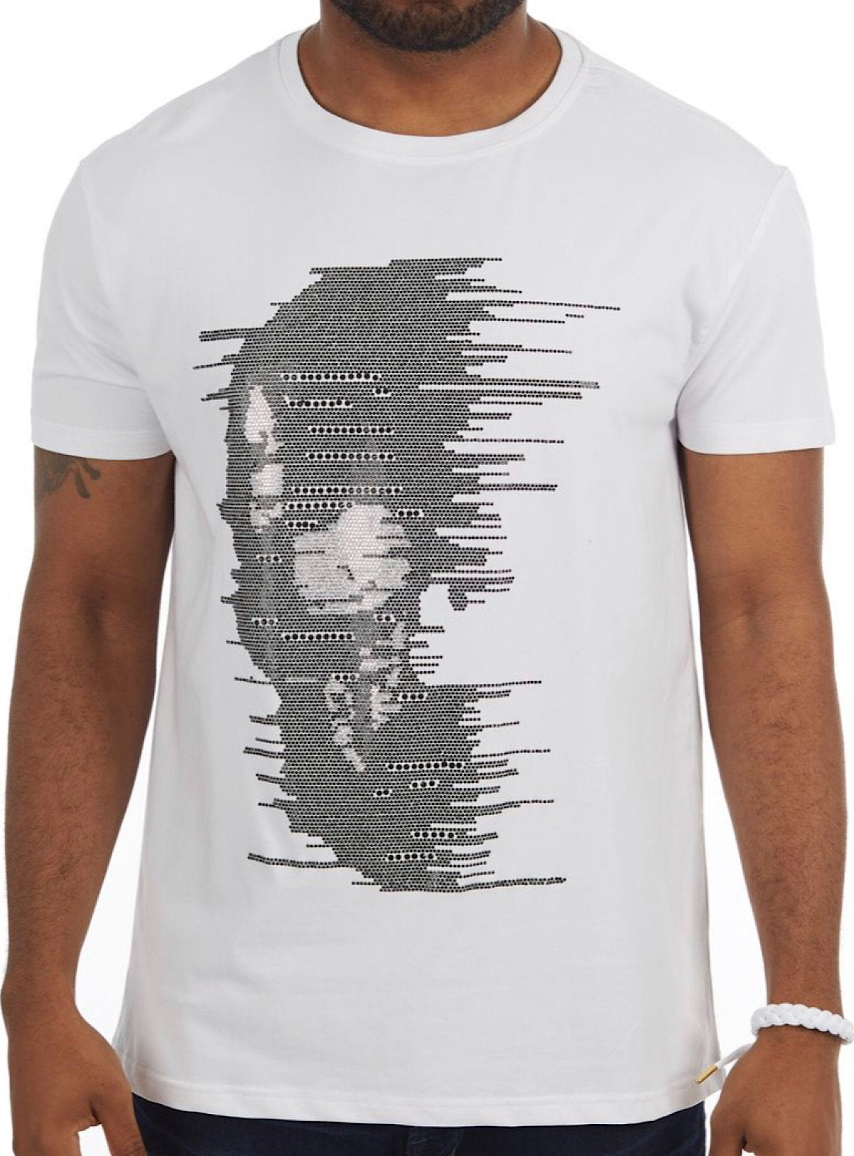 Heads Or Tails T-Shirt - Half Skull - White - 28203
