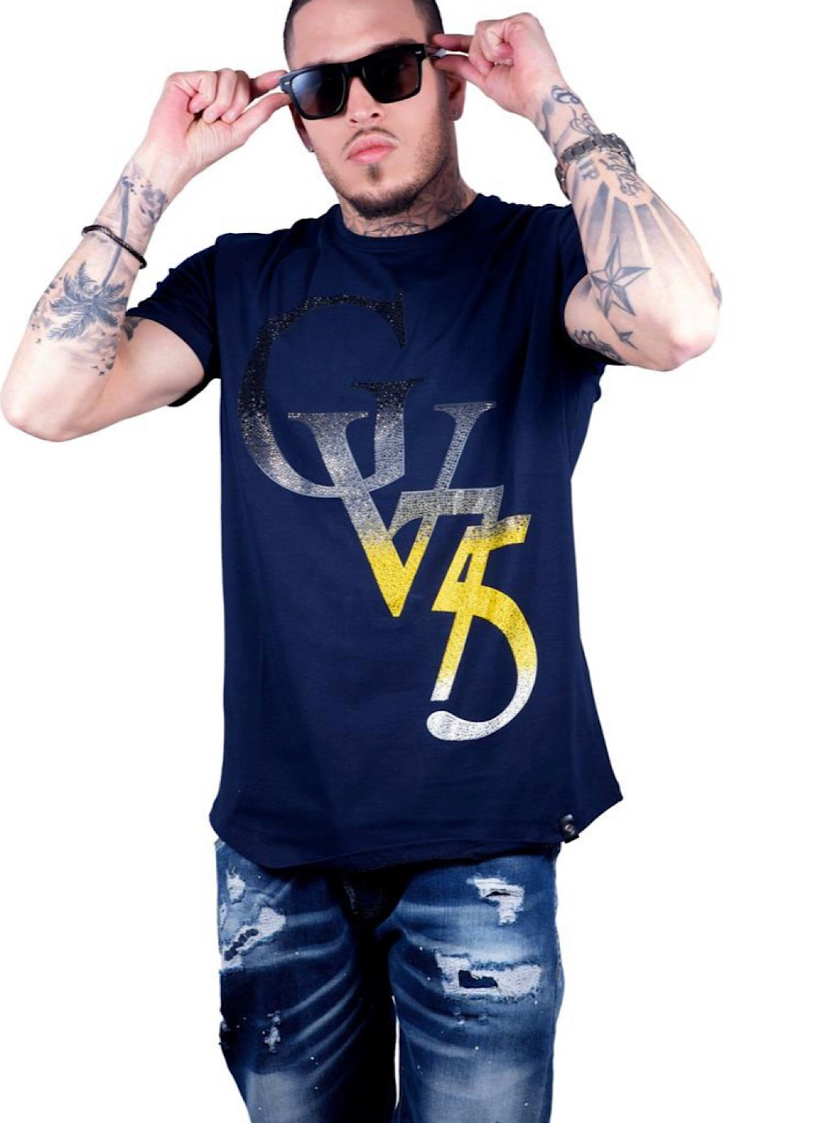 George V T-Shirt - GV Sign - Navy And Yellow - GV-2029