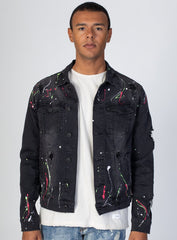 KDNK Destroyed Denim Jacket with Multi-Paint Splash (Dark Medium Gray) KNO5037