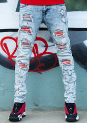 Politics Jeans - Stones And Paint - Light Blue And Red - RSP P001