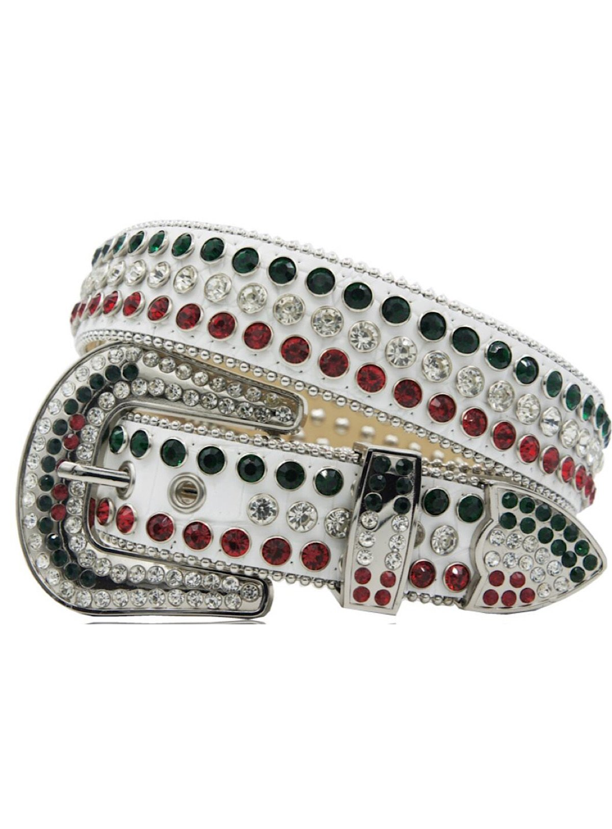 DNA Belt - Stones - White Leather With Green And Red Stones