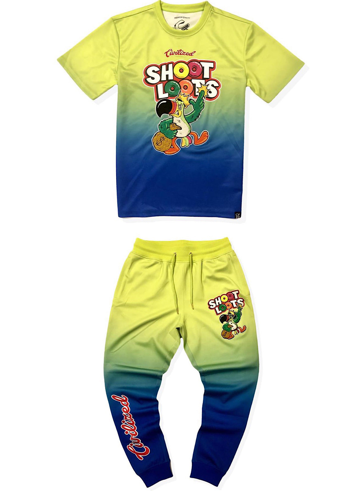 Civilized Jogger Set - Shoot Loots - Blue And Lime - CV2026