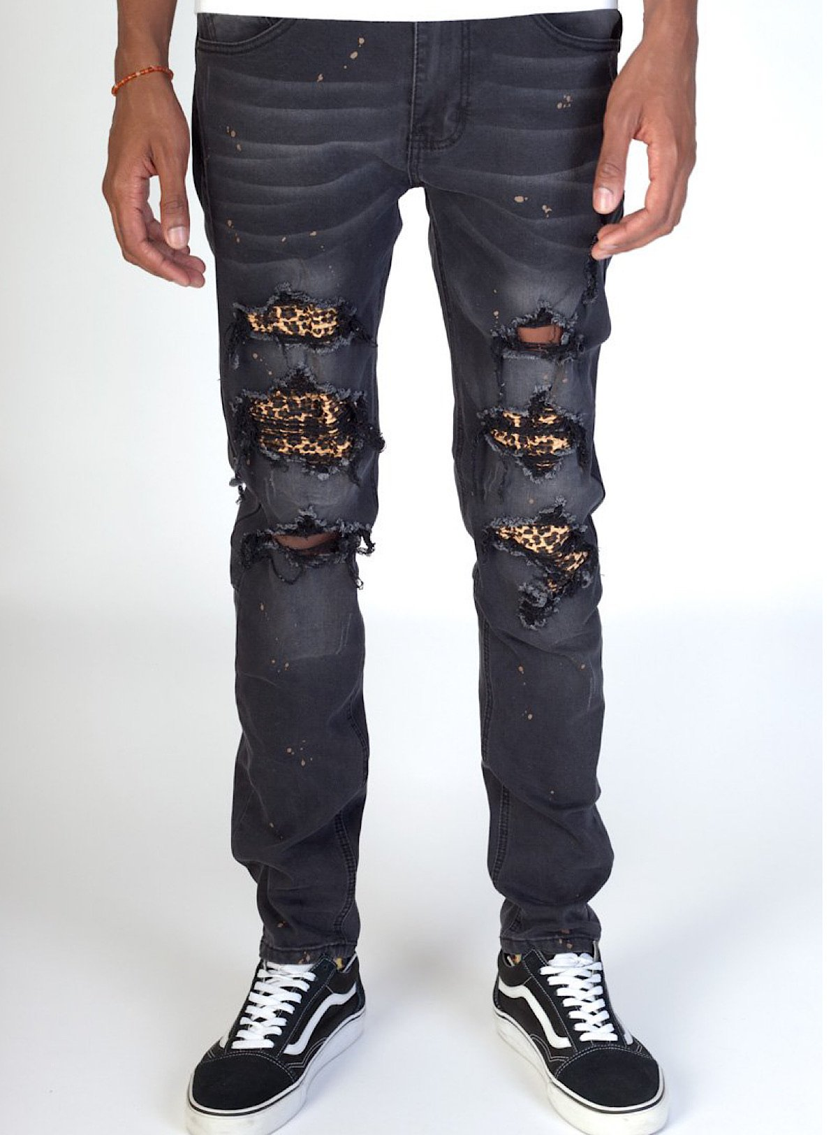 KDNK Jeans - Leopard Patches - Black - KND4305
