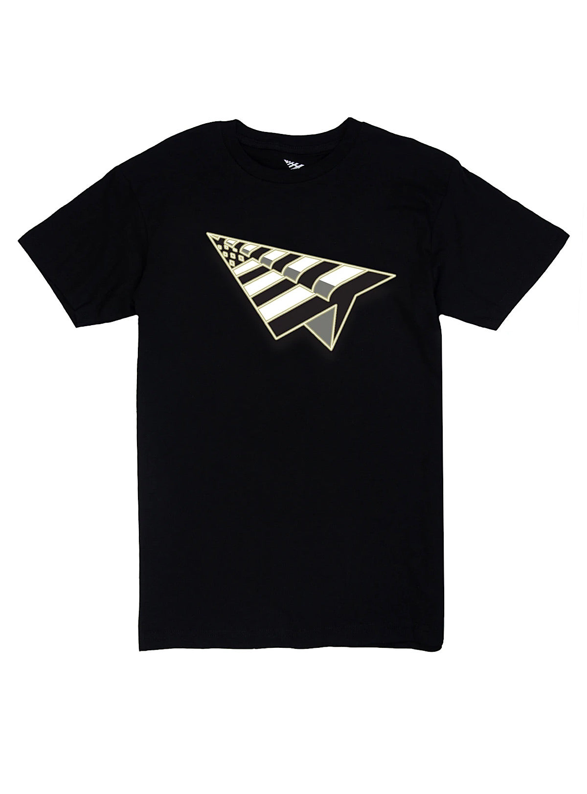 Paper Plane T-Shirt - Logo - Black And Gold - 100930