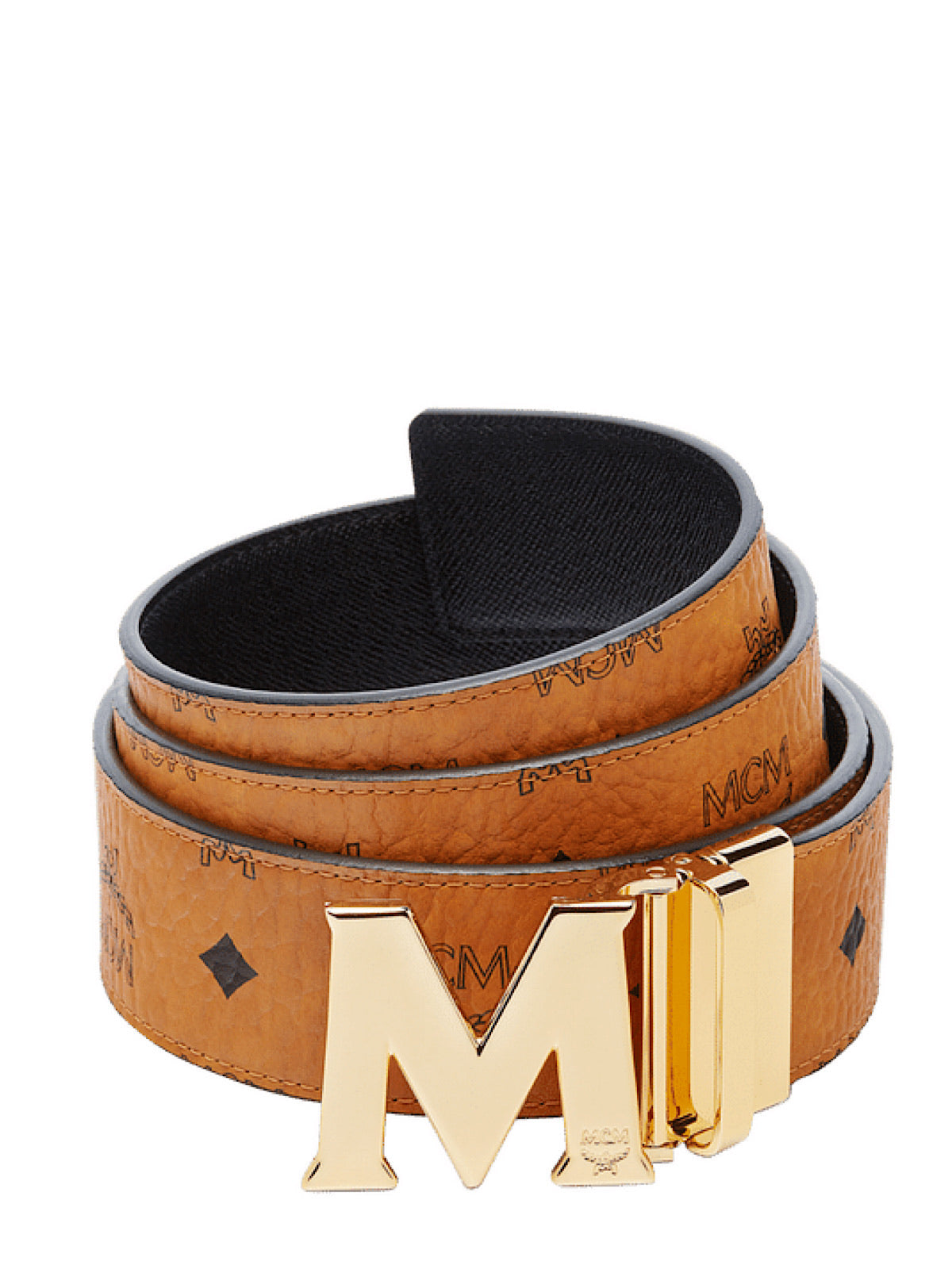 MCM Belt - Reversible - Cognac W Gold Buckle