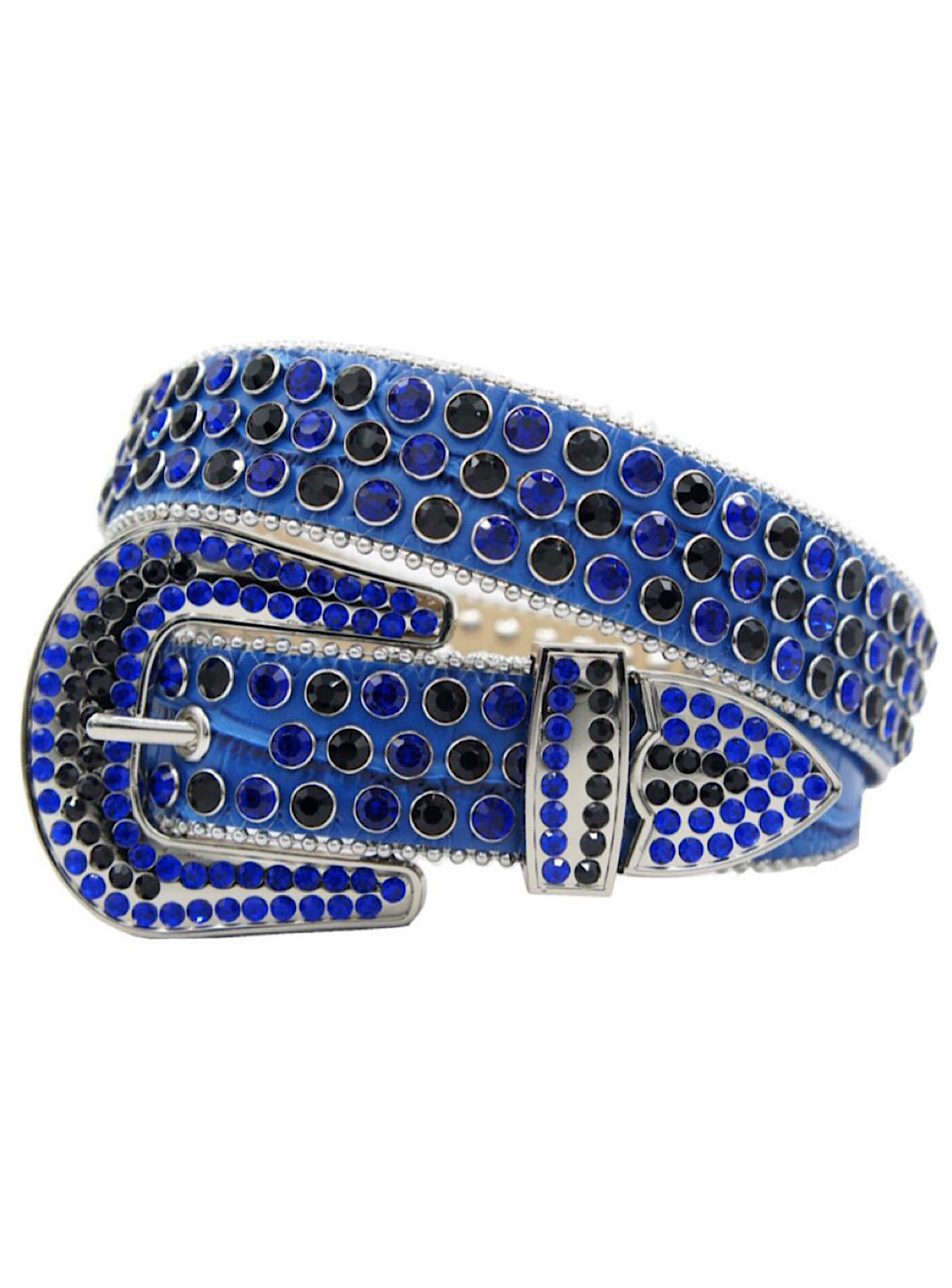 DNA Belt - Snake Skin - Blue With Black And Blue Stones