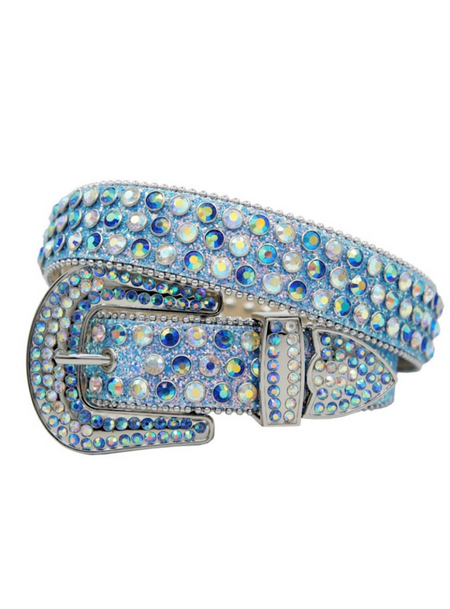 DNA Belt - Shiny Leather - Sky Blue With Clear And Sky Blue Stones