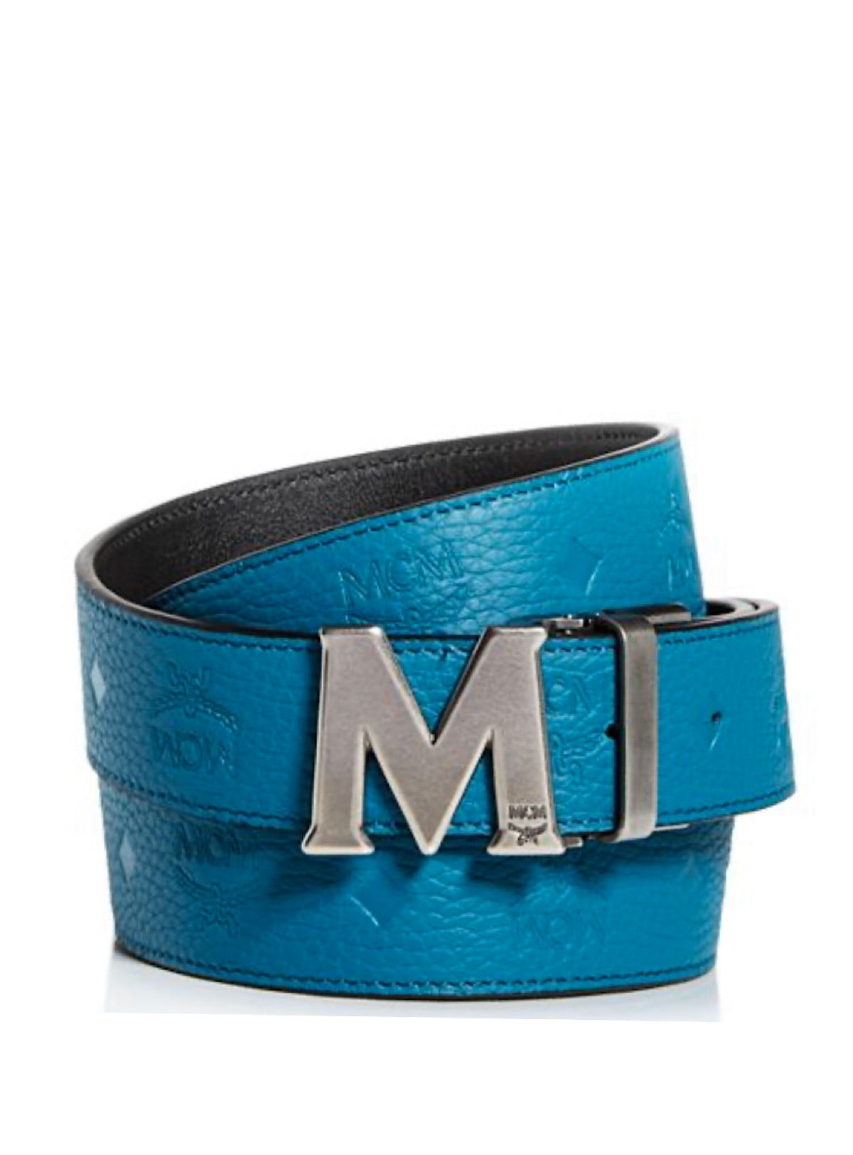 MCM Belt - Thin Reversible - Teal With Matt Silver Buckle