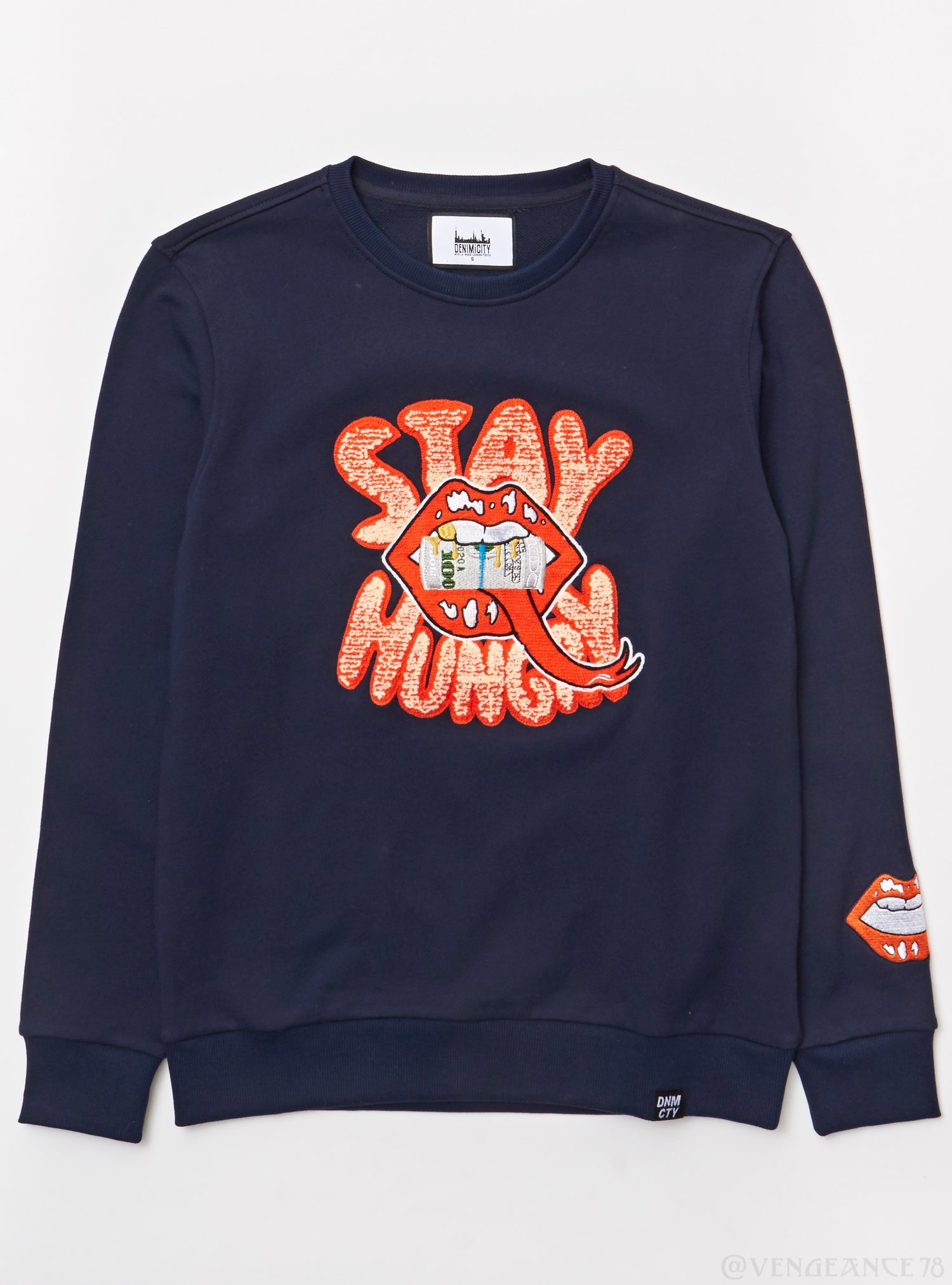 Denimi City Sweater - Stay Hungry - Navy And Orange - DNM-7702