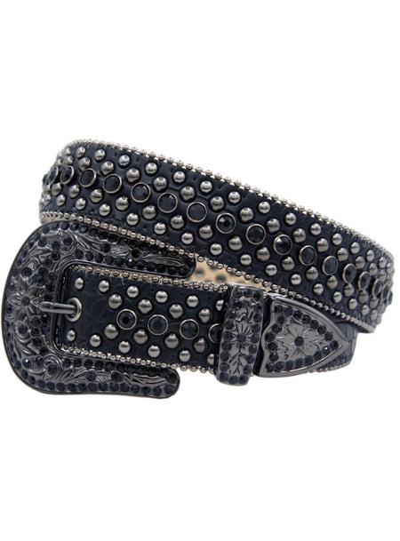 Karma Belt - Stones And Studs - Black Leather With Black Stones