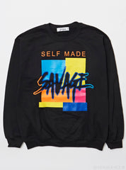 3Forty Inc Sweater - Self Made Savage Crew - Black Multi