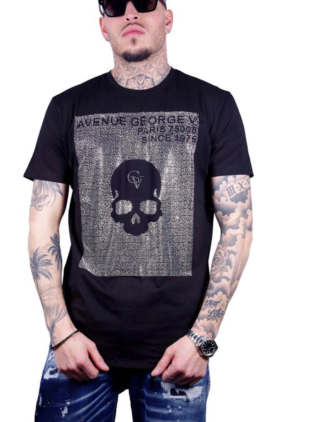 George V T-Shirt - Avenue Skull - Black And Silver - GV-2027