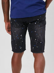 Waimea Jean Shorts - Black Wash - White/Blue Splatter - M7193D