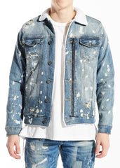 EMBELLISH JEAN JACKET EMBH118-132 RUBENS fur blue