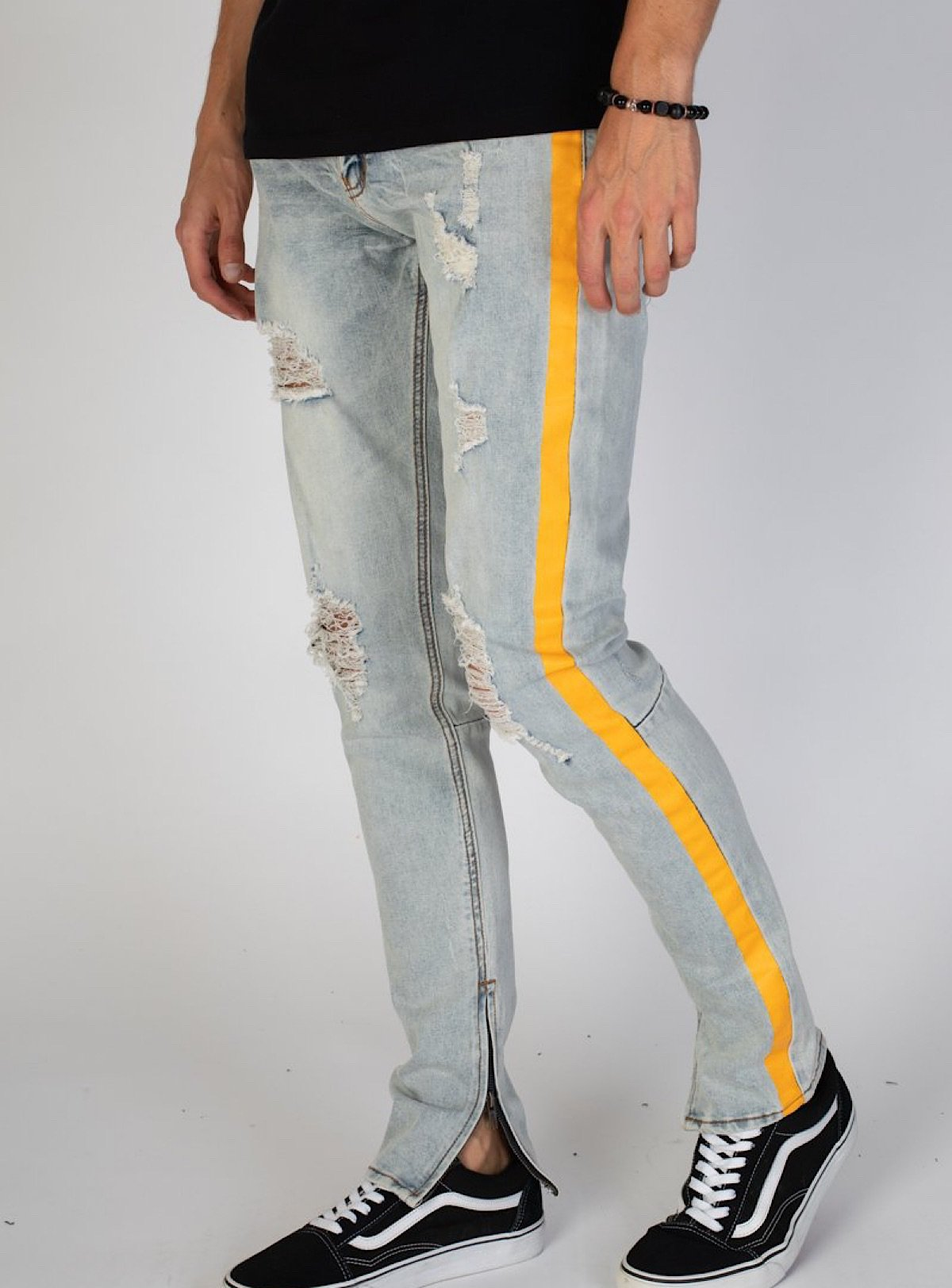KDNK Jeans - Contrast Side Stripe - Blue and Orange - KND4250