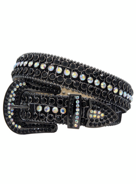 DNA Belt - Shiny Leather - Black And Silver With Black And Chameleon Clear Stones