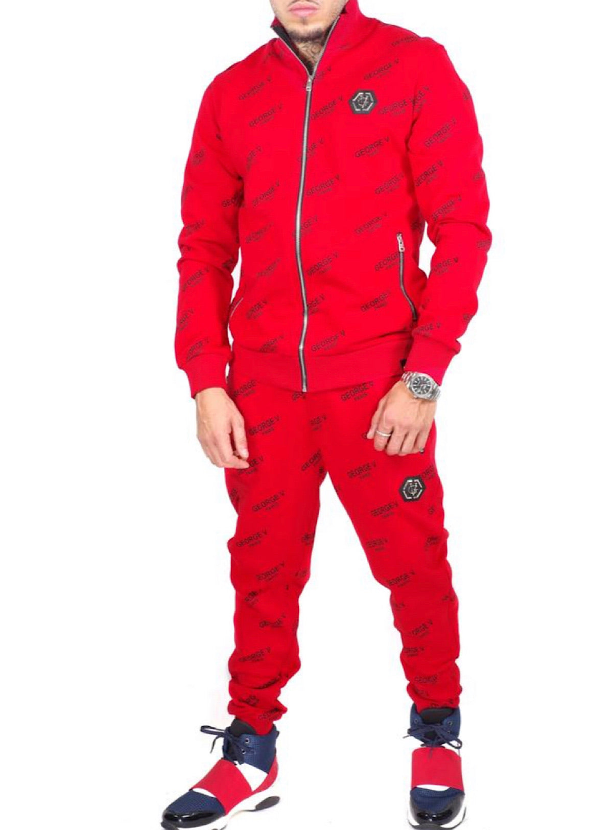 George V Sweatsuit - All Over Logo - Red - GV1004