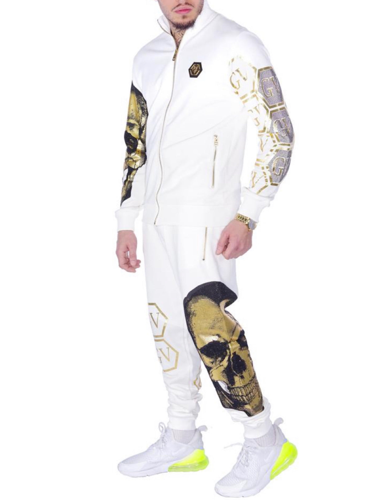 George V Sweatsuit - Skull And Cubes - White And Gold - GV1021