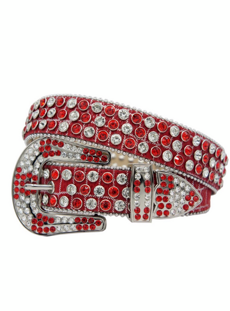 DNA Belt - Shiny Leather - Red And Silver With Red And Clear Stones