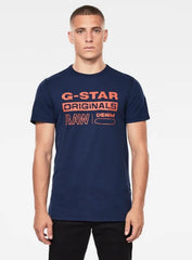 G-Star T-Shirt - Wavy Logo - Imperial Blue - D17838