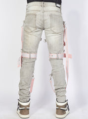 Locked & Loaded Jeans - Straps And Stones - Grey And Pink - LL102