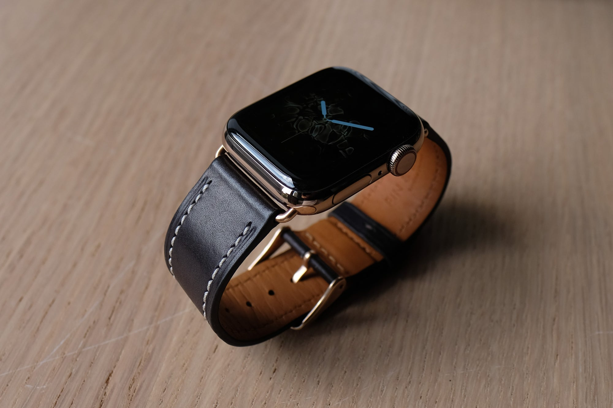 Barenia Leather Apple Watch Bands by Pin & Buckle - Barenia Leather - Dark Chocolate - Fire Watch Face