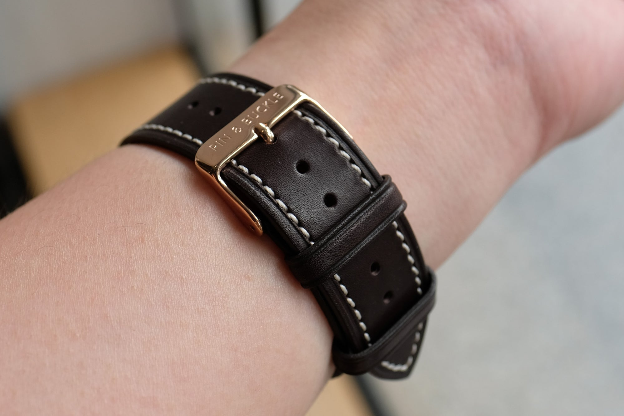 Barenia Leather Apple Watch Bands by Pin & Buckle - Barenia Leather - Dark Chocolate