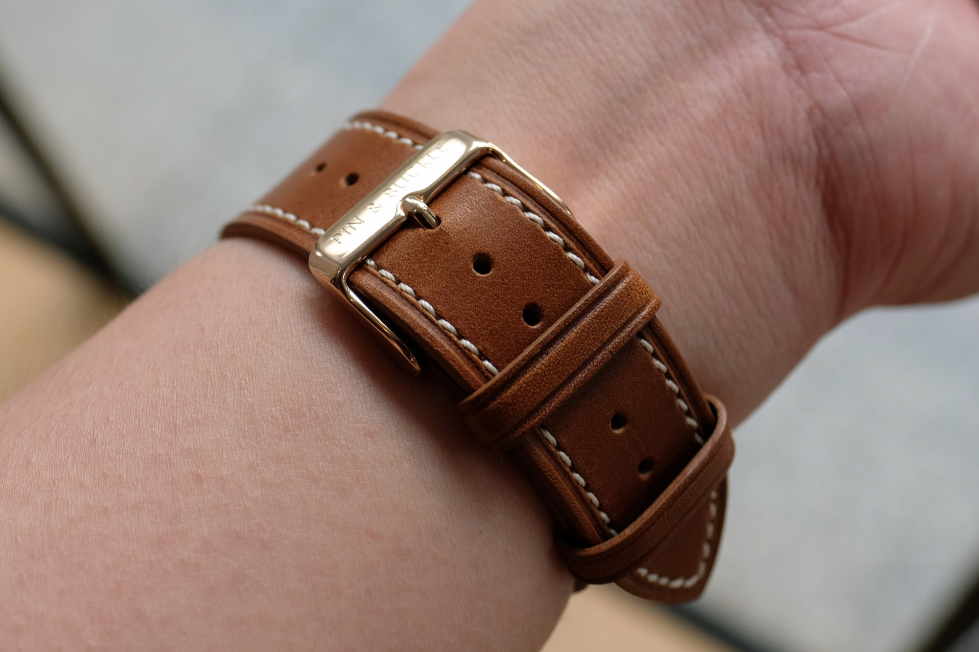 Barenia Leather Apple Watch Bands by Pin & Buckle - Barenia Leather - Tan