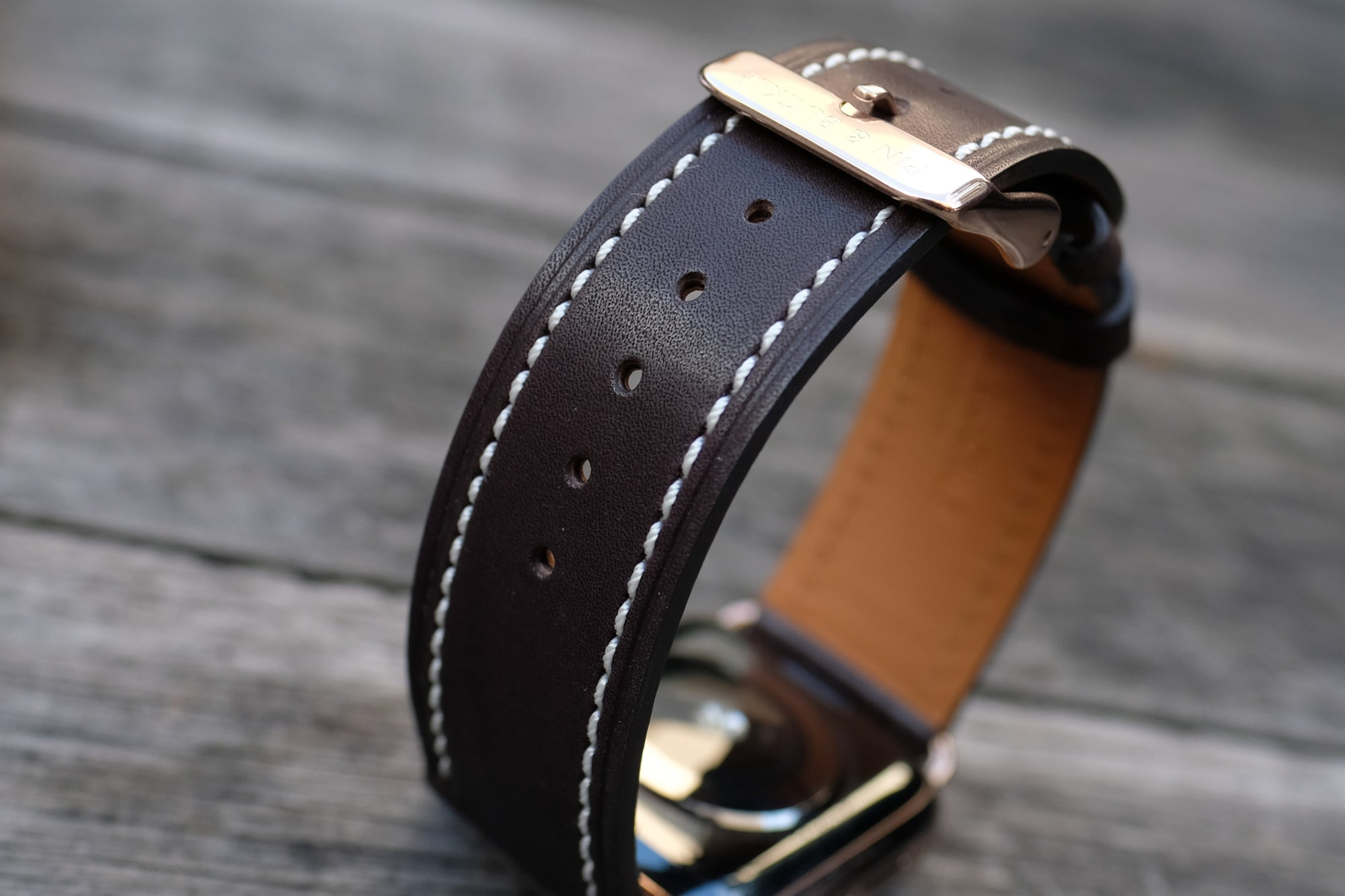 Barenia Leather Apple Watch Bands by Pin & Buckle - Full-Grain Barenia Leather - Dark Chocolate