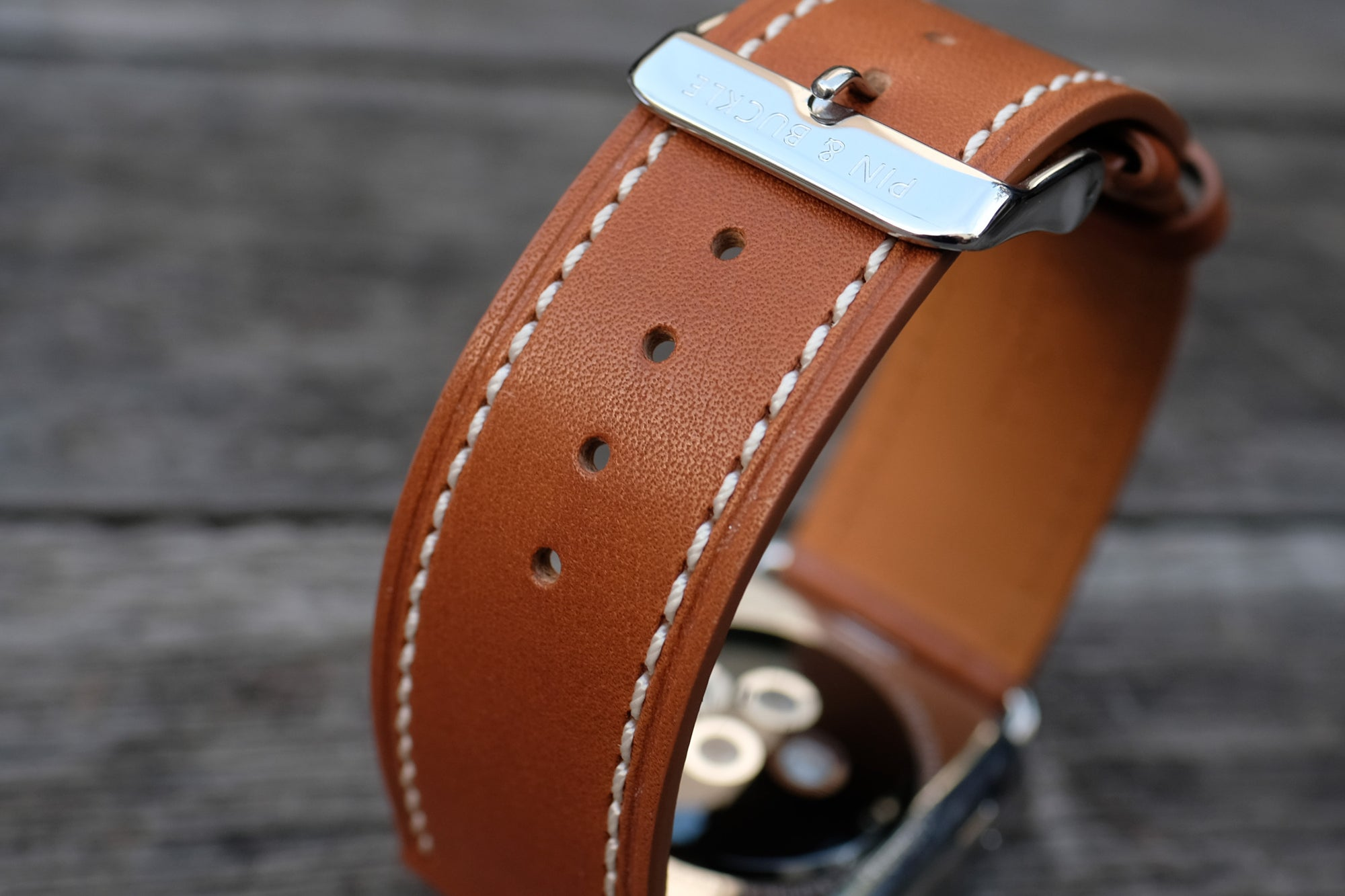 Barenia Leather Apple Watch Bands by Pin & Buckle - Full-Grain Barenia Leather - Tan
