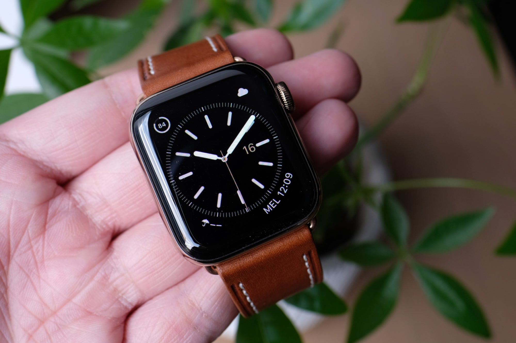 Barenia Leather Apple Watch Bands by Pin & Buckle - Tan - Simple Watch Face