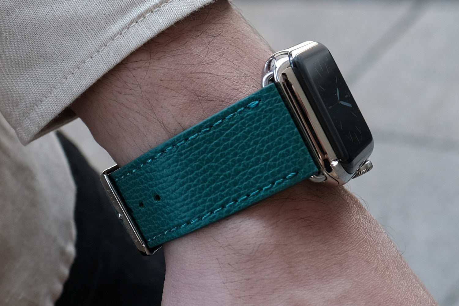 Pin and Buckle Apple Watch Bands - Epsom - Leather Apple Watch Band - Forest Green - Delicately Textured Leather